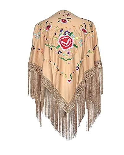 AMINA Mantón pico mediano triangular de flamenco o sevillanas (150X75cm) Cuerpo beige, bordado multicolor