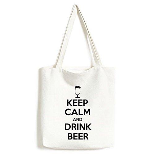 DIYthinker Zitat Behalten Sie Ruhe und Trinken Bier-Schale Lustige Illustration Muster moderner Entwurf Tasche Umwelt Tote große Kapazitäts Einkaufstas Schwarz