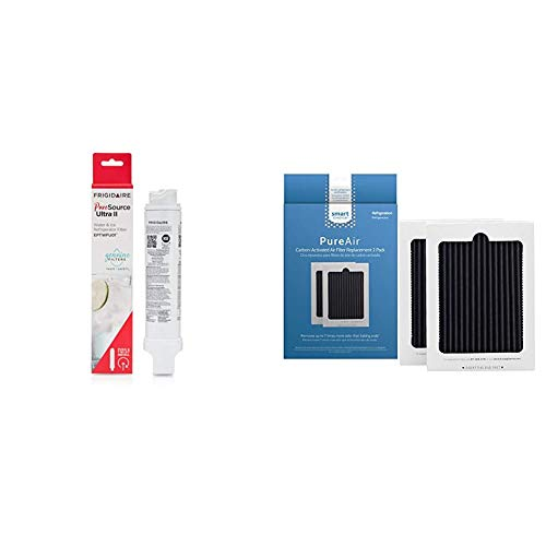 """Frigidaire EPTWFU01 Refrigerator Water Filter, 1 Count, White & Smart Choice SCPUREAIR2PK Pure Air Ultra Refrigerator Air Filter, 6.5"""" x 4.75"""", 2 Filters"""
