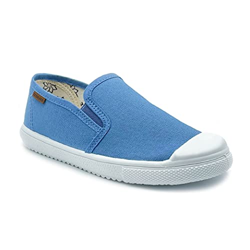 Zapatillas de Lona para niña y niño/Bambas Infantiles con aromaterapia antimosquitos/Calzado Infantil con Cierre de Elastico/fabricacion en España (Azul, Numeric_31)