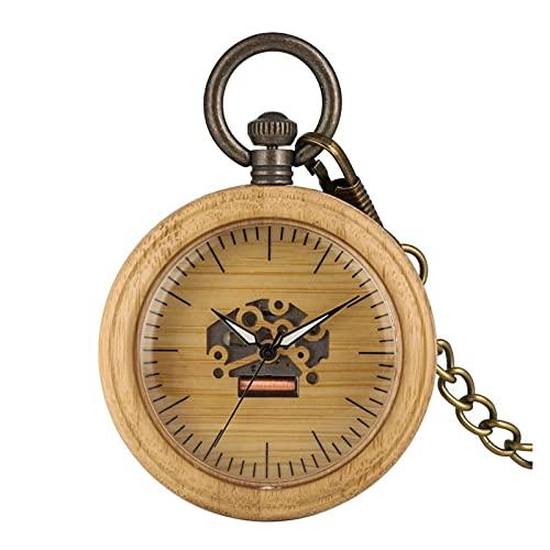 yuyan Reloj de Bolsillo de Madera, Reloj de Bolsillo de dial Esqueleto de Cuarzo Vintage con Cadena, Mejor Regalo para papá, Profesor, Abuelo y Amigos (Color : A)