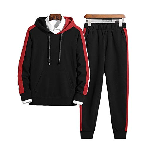 xzbailisha Mens 2 Piece Outfits Sportswear Hooded Solid Pullovers and Pants Set Joggers Tracksuit Black Red