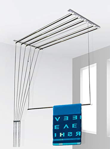SYNERGY - (6 Pipes x 6 Feet) - Heavy Duty - Stainless Steel Ceiling Clothes Hanger/Cloth Dryer with UV Protected Nylon Rope and Individual Drop Down Railers (SY-CL3)