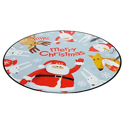 JSFGFSDH Alfombra redonda de Navidad con estampado de Papá Noel para puerta antideslizante