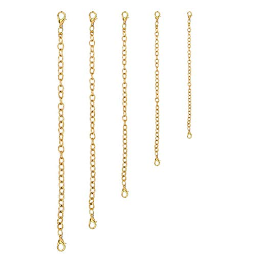 nuosen 5 Piece Extender Chain, Stainless Steel Extension Chain Necklace Extender Chains Set Gold Bracelet Extension Chains for DIY Jewelry Making