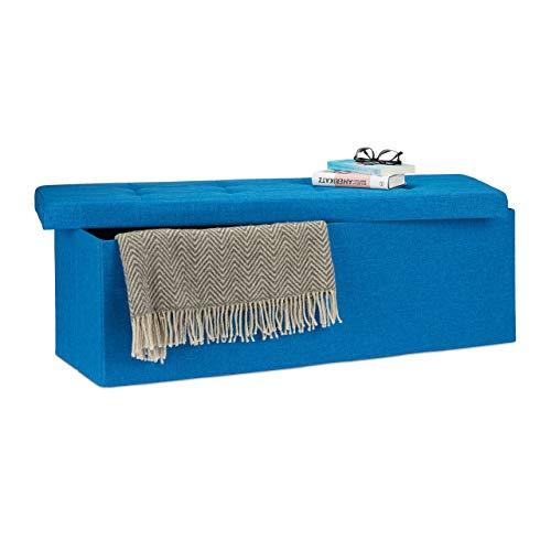 Relaxdays Pouf Pieghevole con Contenitore XXL, Sgabello a Forma di Cubo, Lino, Tessuto, Blu, HxLxP 38 x 114 x 38 cm