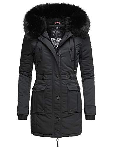 Navahoo Luluna Prc - Cappotto invernale da donna, con pelliccia sintetica rimovibile, taglia XS-XXL Nero XXL