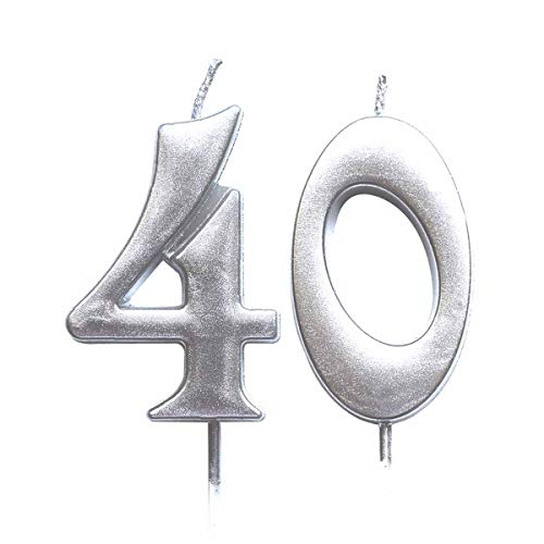 MAGJUCHE Silver 40th Birthday Numeral Candle, Number 40 Cake Topper Candles Party Decoration for Women or Men