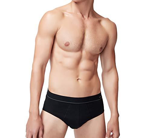 Mens Underwear Briefs Cotton Briefs for Men Basic Slip Underwear Without Fly Pack of 3, Black, X-Large
