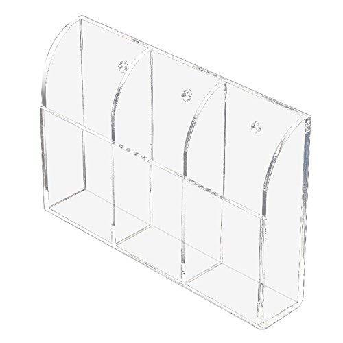Soporte de acrílico transparente para control remoto, organizador de medios de montaje en pared, caja de almacenamiento (tres compartimentos)