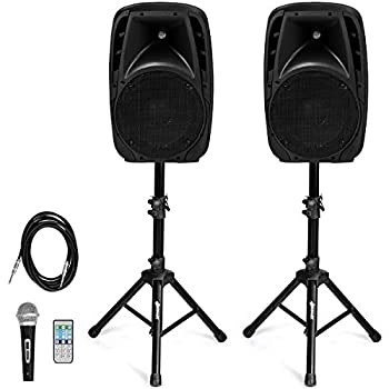 Costzon Portable 1600W 2-Way Powered PA Speaker System Professional DJ Speakers with Active + Passive Loud Set 2 Speaker Stands Microphone Bluetooth USB/SD Card Input FM Radio,Remote  2-Way