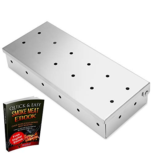 Kaduf Smoker Box Stainless Steel for Any BBQ Grill Gas, Charcoal, Pellet – Perfect for Grilling Fish, Pork, Ribs Intense Smoke Flavor Barbecue with Wood Chips - Easy, Safety and Tasty Smoking Smokers