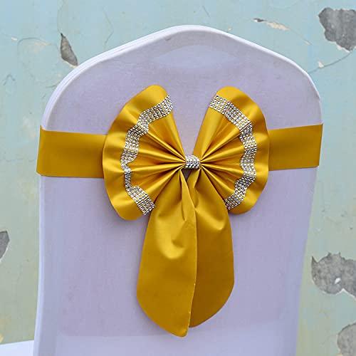 tggh Juego de fajas para silla de boda, cinturón de silla, sin flores, con lazo, ajustable, para celebración, boda, celebración, multicolor (color: dorado, número de piezas: 10 piezas)