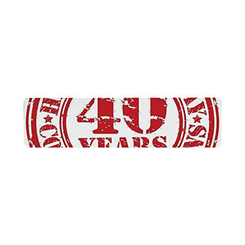 HNNT 40e verjaardag decoraties Functionele Tin Sign, gedateerd rubber stempel met nummer veertig Gefeliciteerd Grungy Look 40x10 cm Kennisbord voor Indoor Outdoor Yard Street Signs