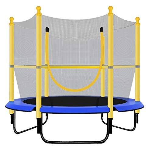 5ft Kids Trampoline, Children Trampoline with Enclosure Net Jumping Mat Wear-resistant Zipper Spring Cover Padding, Best Gift for Boy Girl 3-6 Year Old Indoor Backyard Play Fitness (Multicolour)