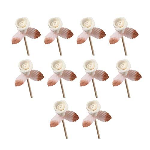 SUPVOX 10 bastoncini per diffusori in rattan con boccioli di fiori in rattan, ricambio per diffusore di oli essenziali, 10 pezzi