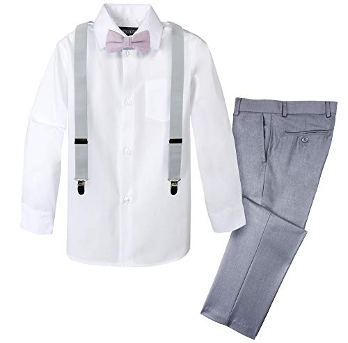 Spring Notion Boys' 4-Piece Linen Bow Tie & Suspender Outfit Light Grey & White Set w/Grey Suspenders & Dusty Lavender Bow Tie 14