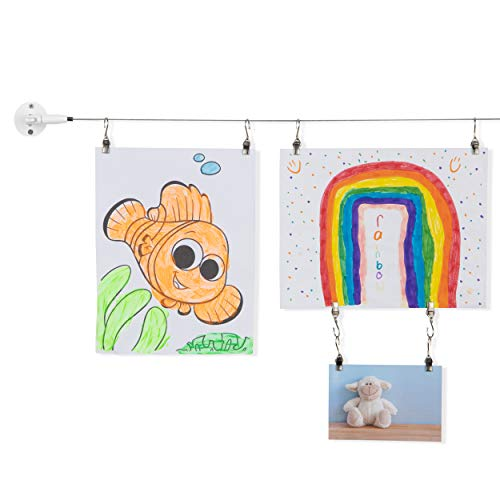 You Have Space TOTART Picture Hanging Kit and Curtain Rod with 18 Clips for Kids Crafts, Artwork, Tapestry, Stainless Steel, White