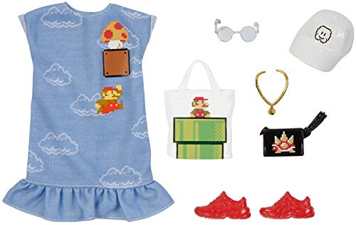 Barbie Storytelling Fashion Pack of Doll Clothes Inspired by Super Mario: Dress with Graphic Print & 6 Accessories Dolls, Gift for 3 to 8 Year Olds