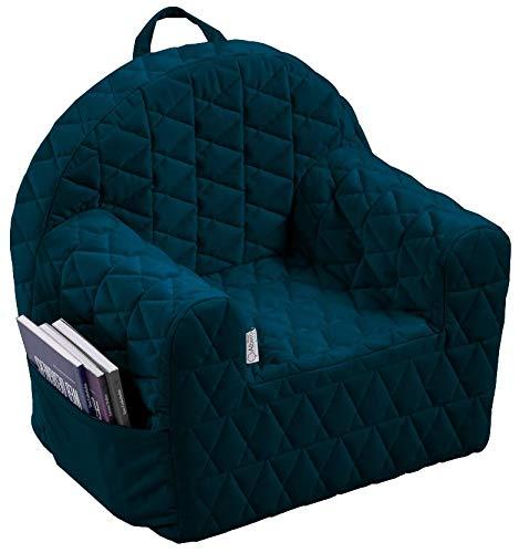 Albero Mio Kindersessel, Kinderstuhl, Kindermöbel, Kindersofa, blau, gemütlich mit waschbarem Samtbezug und Aufbewahrungsfach für Spielsachen