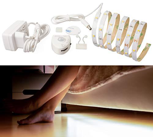 LED Bettlicht SET mit Bewegungsmelder Nachtlicht Streifen Bett Lichtleiste Bewegungssensor Baby Warmweiß Beleuchtung Kinderbett