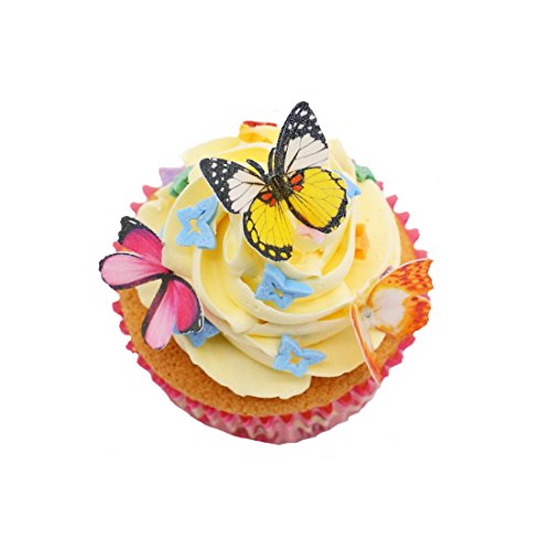 "GEORLD Set of 48 Piece 1.77"" Edible Butterflies Cake & Cupcake Toppers Mixed Colour"