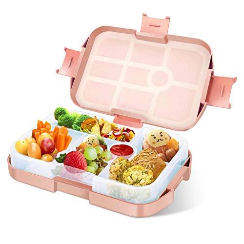 Lunchbox Kinder Bento Box, Brotdose mit 6 Unterteilungen Fächern, Robust und Auslaufsicher Brotzeitbox für Kinder Erwachsene, Praktische Jausenbox für Kindergarten, Schule, Picknick und Reisen Rosa