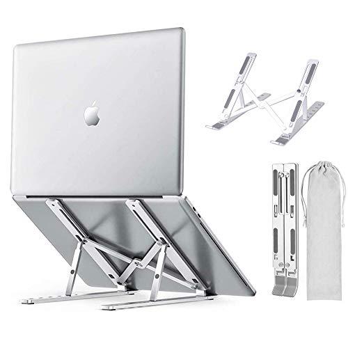 Wuudi Laptop Ständer, Klappbar Stand, Multi-Angle-Standfuß mit Heat-Vent, Für 10-15,6 Zoll Kompatibel mit Tablet/Tab Laptop PC (Silber)