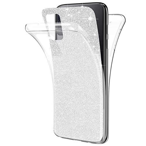 Kompatibel mit Samsung Galaxy A71 Hülle,Glänzend Bling Glitzer 360 Grad Full Body Transparente Handyhülle Weich Silikon TPU Vorderseite Zurück Schutz Schutzhülle Case für Galaxy A71,Silber