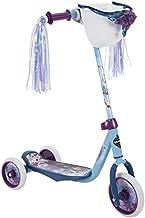 Huffy 78919 Frozen 2 Girl Scooter for Kids, Elsa & Anna Graphics, Handlebar Bin, Preschool Three Wheels & Streamers, Blue/White