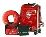 Athletic Club de Bilbao - Pack de Viaje Maleta y Accesorios - Producto Oficial del Equipo Temporada 19/20. Incluye Almohada Cervical, Organizador de Equipaje, Neceser, Antifaz y Etiqueta de Equipaje.