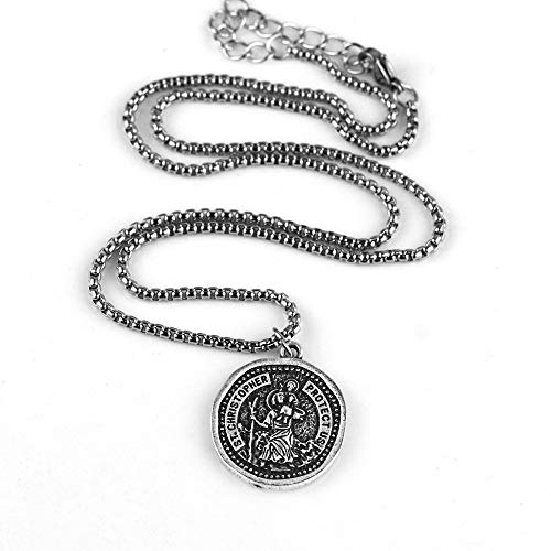 Saint Christopher Medallion Necklace Medieval Orthodox Religious Patron Medal Jewelry