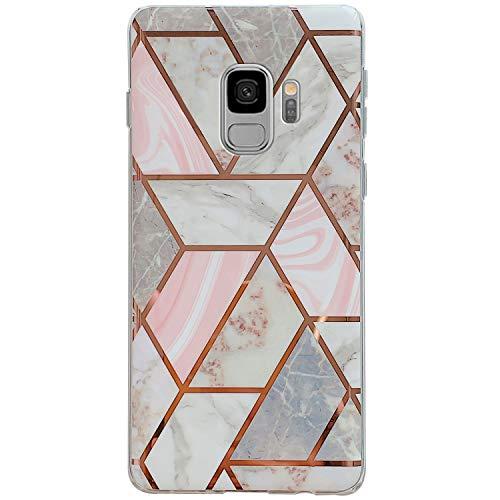 Surakey Cover Compatibile con Samsung Galaxy S9 Custodia Silicone Morbido Modello Geometric Marmo Case con Flessibile TPU Bumper Moda Ultra Slim Anti-Scratch Cover per Samsung Galaxy S9,Rosa