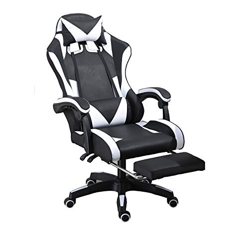 Racing Chair Gaming Chair Office Chair Swivel Chair, PC Chair, Ergonomic Executive High Back Chair Multifuctional Chair (Black+White)