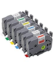 KiAKUO 6 Pack Compatible Label Band Replacement for Brother P Touch Label Maker Laminated Tape TZ2-131 TZ2-231 TZ2-431 Multicolor Tape Cartridge Laminated 12mm x 8m