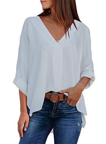 Aleumdr Bluse Damen Elegant Tunika Blusen Damen Weiß Langarm Causal einfarbig Oberteile Hemd Lose Langarmshirt mit V-Ausschnitt