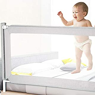 Safety Bed Rails Folding Baby Playpen Adjustable Kids Toddler Guard 1.5M/1.8M/2M (Gray 180x80cm)