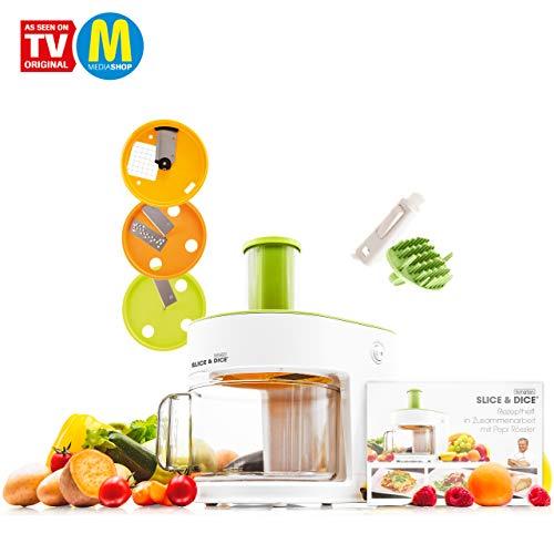 Mediashop Livington Slice & Dice – elektrischer Allesschneider – Gemüseschneider schneidet Spiralen, Würfel, Streifen, Scheiben – Multischneider mit Edelstahlmessern