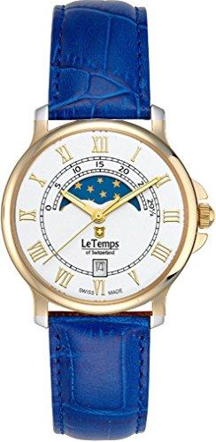 Le Temps Damenuhr, vergoldet, Mondphase Ø 35 mm (blau)