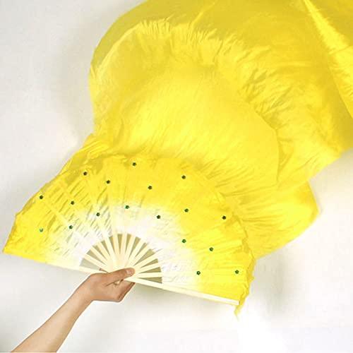 Ventilador Portátil y de Bolsillo 1.8M Hecho a Mano Fans de Seda Coloridas Bailando Bambú Largos Fans de Seda Herramientas Simulación Veils Fans for Mujer Vientre Disfraz Dance Abanico Plegable