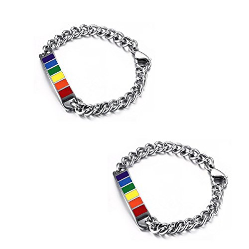 VNOX Jewelry 10MM Stainless Steel Rainbow Rubber Gay & Lesbian Pride Couple Bracelet for Him/Her,8'