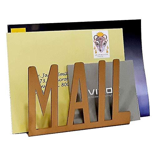 A10SHOP Ares Briefhalter und Briefständer aus Metall mit Aussparung für den Schreibtisch, 15 x 10 x 5,5 cm, bronzefarben