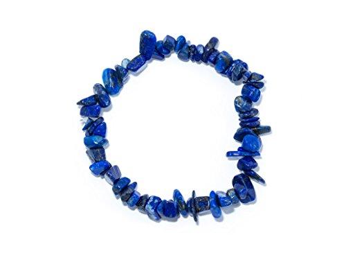 Taddart Minerals – Bracciale in schegge blu in lapislazzuli di pietra preziosa naturale, montato su filo di nylon elastico, fatto a mano