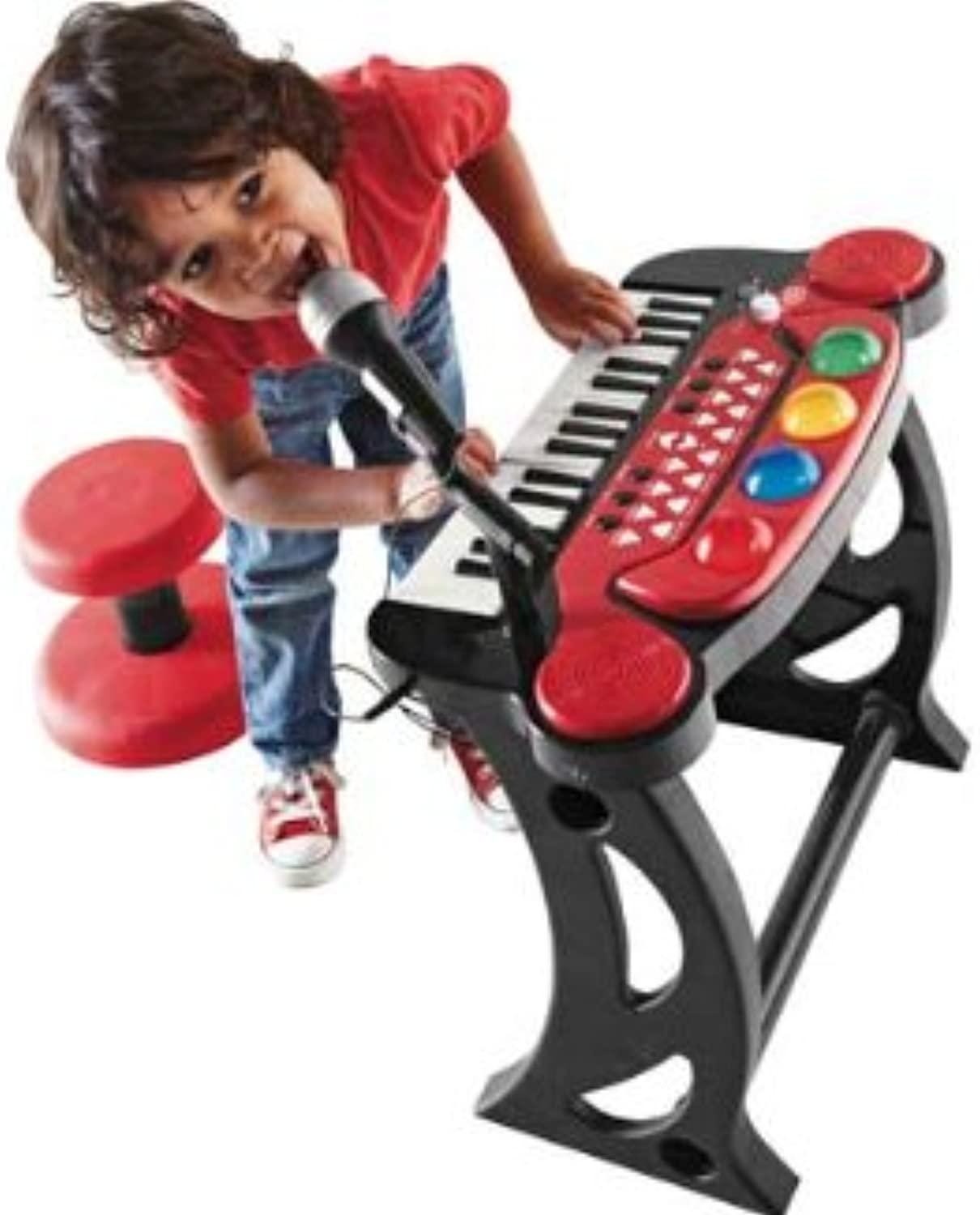 Chad Valley Sing Along Keyboard, Stand and Stool  Red