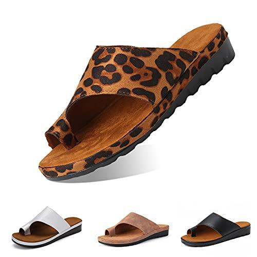 Camfosy Damskie ortopedyczne sandały, skóra PU kapcie łazienkowe buty do wnętrz lato plaża japonki korektor palców komfort kobiety na koturnie kapcie na platformie na co dzień na zewnątrz do domu szerokie dopasowanie, leopard, 40 EU