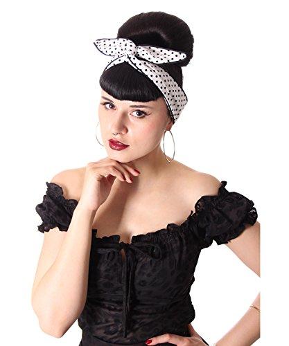 SugarShock Damen Haarband Mandisa Polka Dots, Größe:onesize, Farbe:weiss schwarz