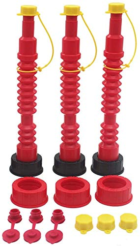 AC-DK Brands 3 Pack Flexible Gas Can Spout Replacement with 6 Screw Collar Caps(Fits Most of The Cans), 6 Base Caps, 3 Stopper Cap and 3 Stainless Steel Filter/Flame Arrestor(Family Pack) (Red)