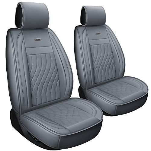 LUCKYMAN CLUB 2 PCS Gray Car Seat Covers Fit Most Sedan SUV Truck Fit for Escape Chevy Silverado Spark Traverse Volt Murano Pathfinder 4Runner (Gray- 2pcs)