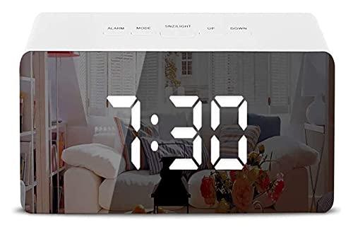 LX-Love clock Reloj despertador con pantalla LED con pantalla LED y alarma, con temperatura, repetición, brillo ajustable, calendario de fecha, puerto USB, luz nocturna
