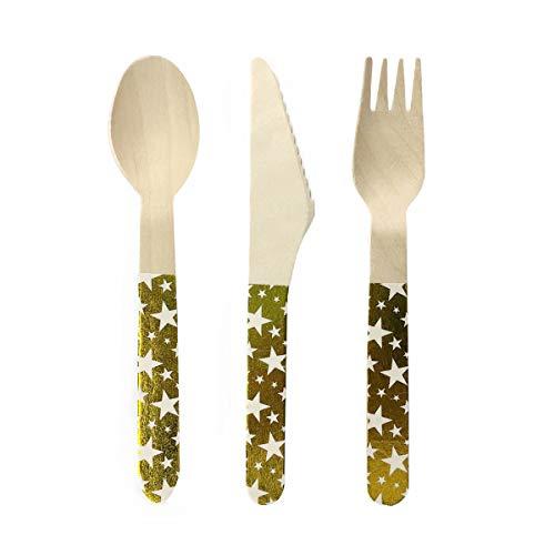 Holibanna 8 Juego de vajilla de Madera desechable, Estampado en Caliente, Cubiertos, Tenedores, cucharas, Suministros de Cena...